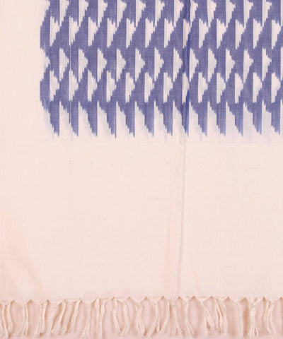 Handloom blue white ikkat cotton stole