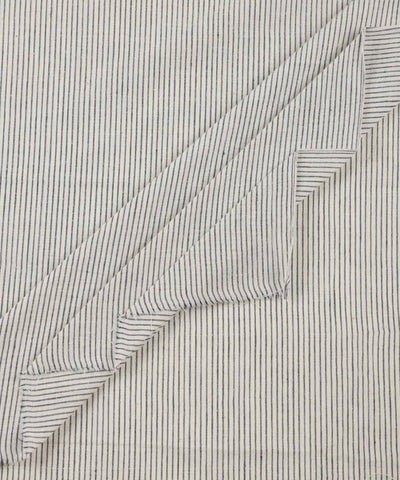 Black off white handwoven cotton striped fabric