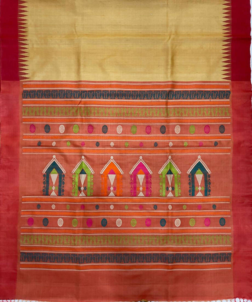 Bright Yellow red handwoven dolabedi tussar silk saree