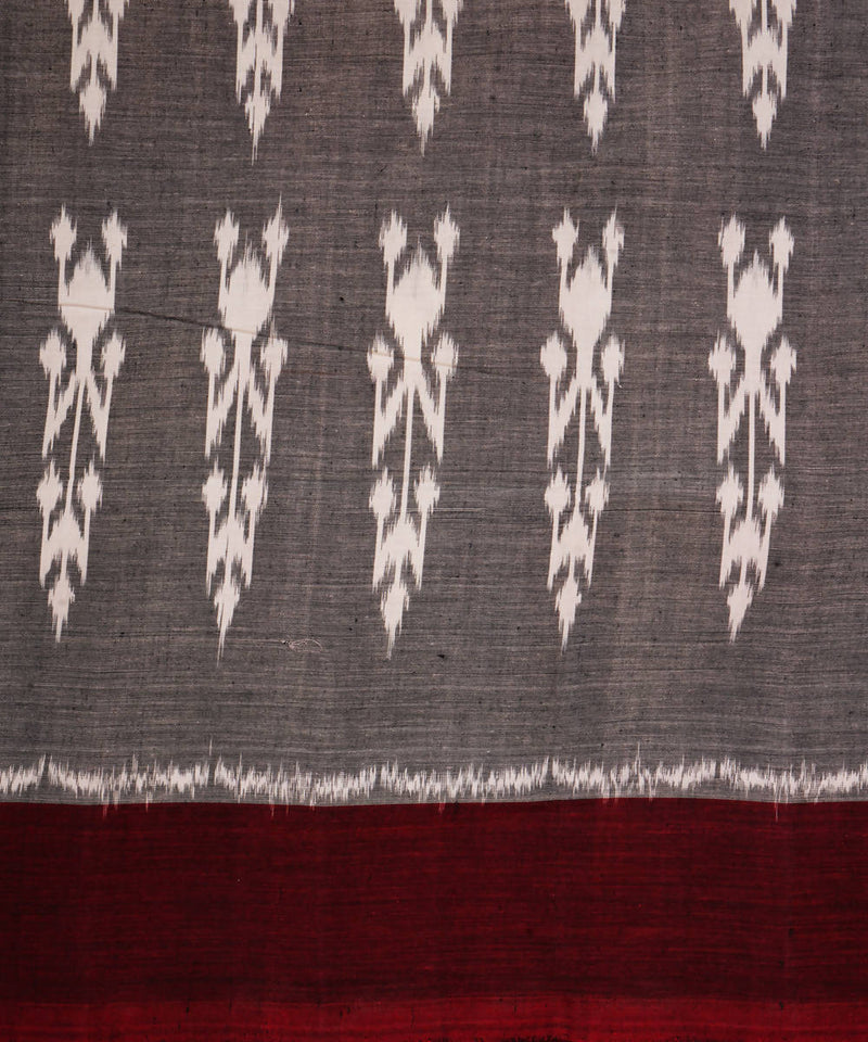 Grey Maroon Handloom Ikkat Cotton Saree