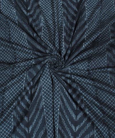 Black Cotton Shibori Print Kurta Fabric