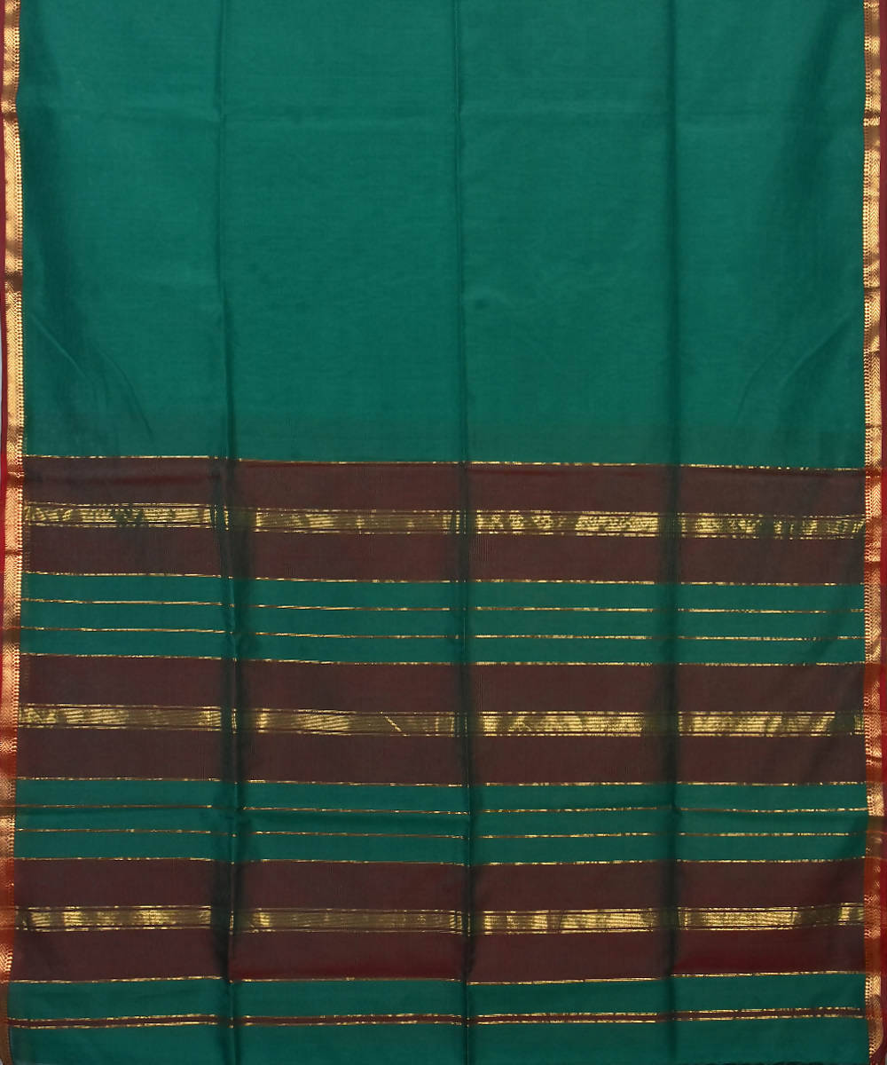 Handloom Teal Green Maheshwari Sico Saree