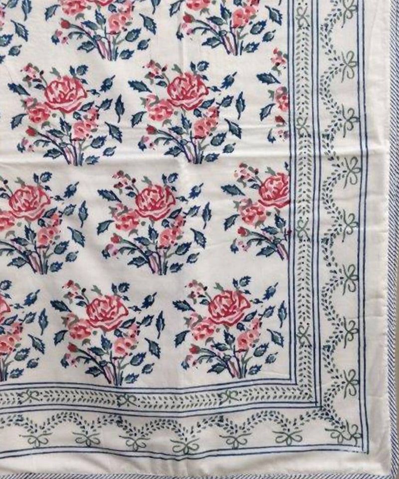 Pink Rose Motif Handblock Printed Cotton Double Dohar