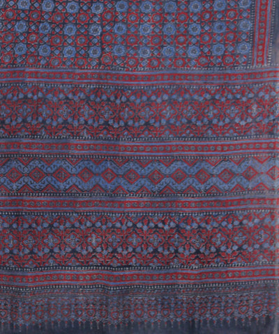 Blue maroon Ajrakh Handblock Print on Handloom Cotton Saree