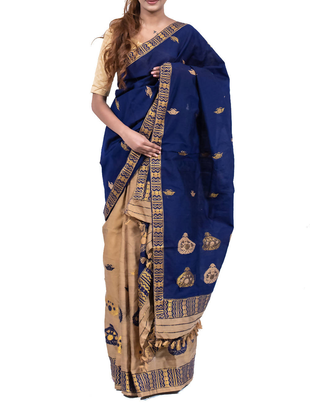 Midnight Blue Assam Cotton Mekhela Chador