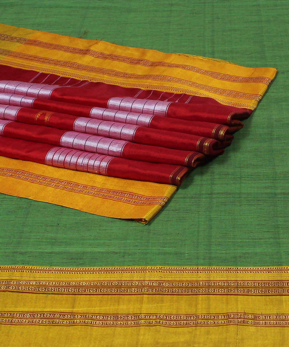 Light Green Ilkal Cotton Handloom Saree