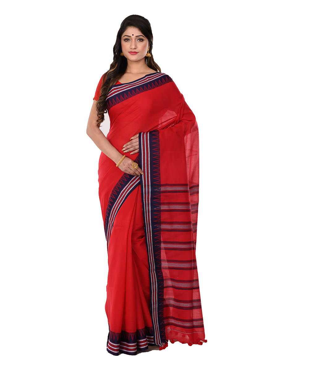 Red Handloom Bengal Tangail Cotton Saree