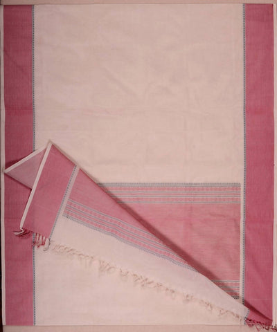 Off White and pink Handloom Kanchi Cotton Saree