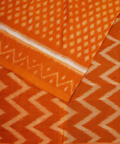 Mustard Orange Handloom Ikkat Cotton Saree