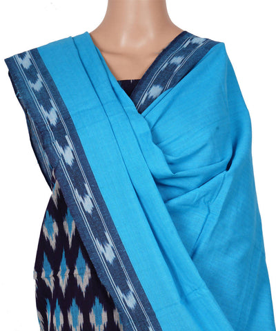 Black Sky Blue Handwoven Ikat Cotton Suit Set
