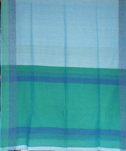 Bengal Sky Blue and Green Handloom Cotton Saree