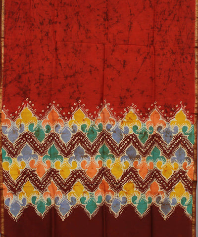 Red Orange Batik Print Maheshwari Dupatta