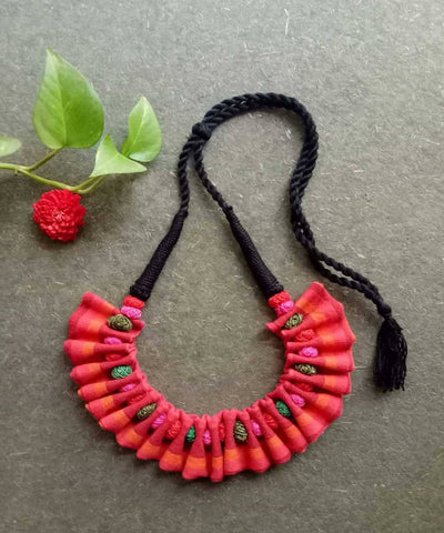 Pink orange handwoven fabric choker necklace