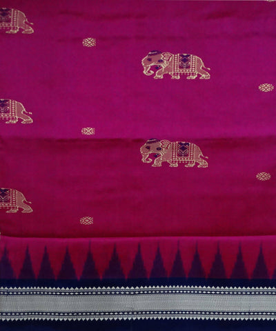 Dogwood Rose Handloom Bomkai Ikat Silk Saree