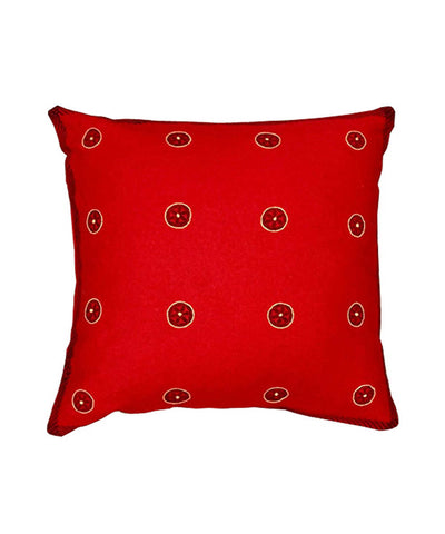 Red handblock print with hand embroidery cushion cover
