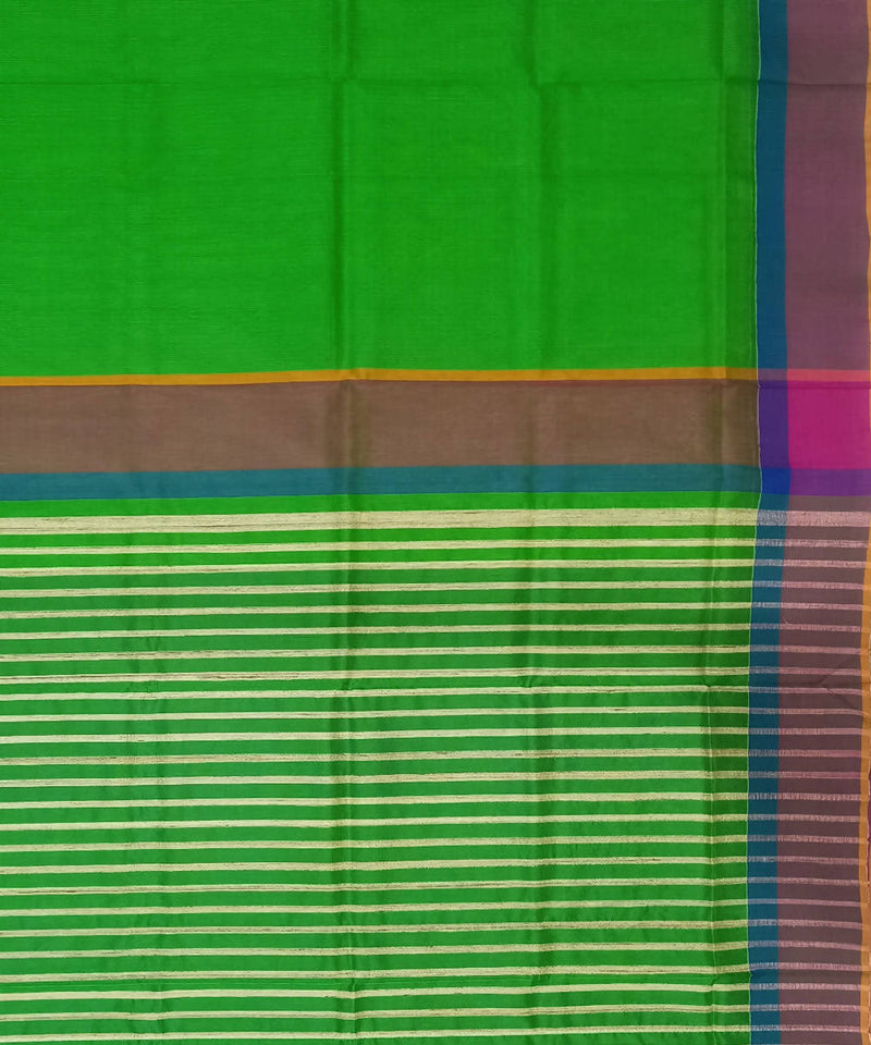 Maheshwari Forest Green Handloom Cotton Silk Saree