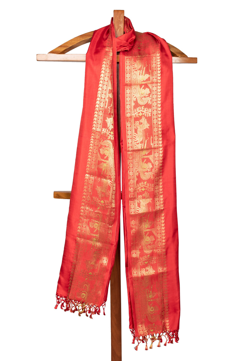 Biswa Bangla Handwoven Baluchari Silk Dupatta - Red