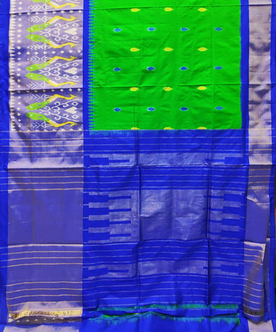 Green and navy blue handloom pochampally ikat silk saree