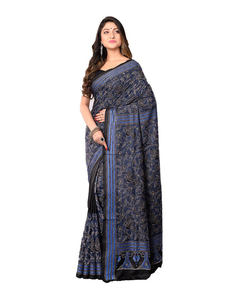 Kantha Stitch Black Bengal Handloom Saree