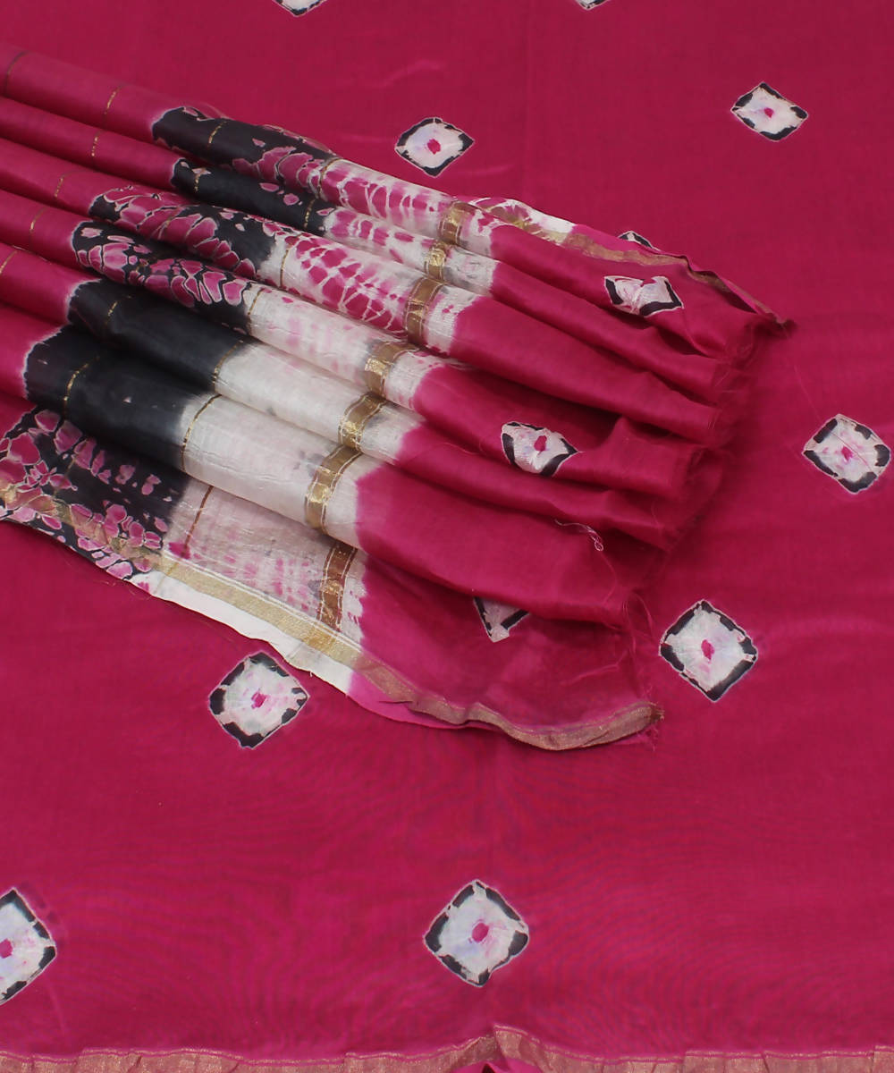 Pink Shibori Printed Chanderi Saree