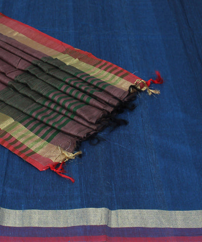 Blue Grey Handloom Handspun Cotton Saree