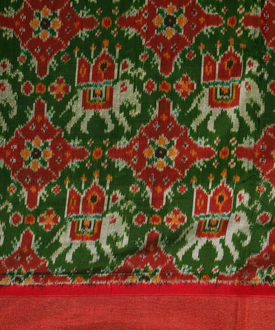Green Red Handloom Pochampally Silk Saree