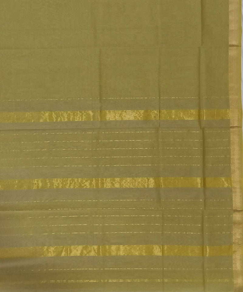 Maheshwari Light Olive Handloom Cotton Silk Saree
