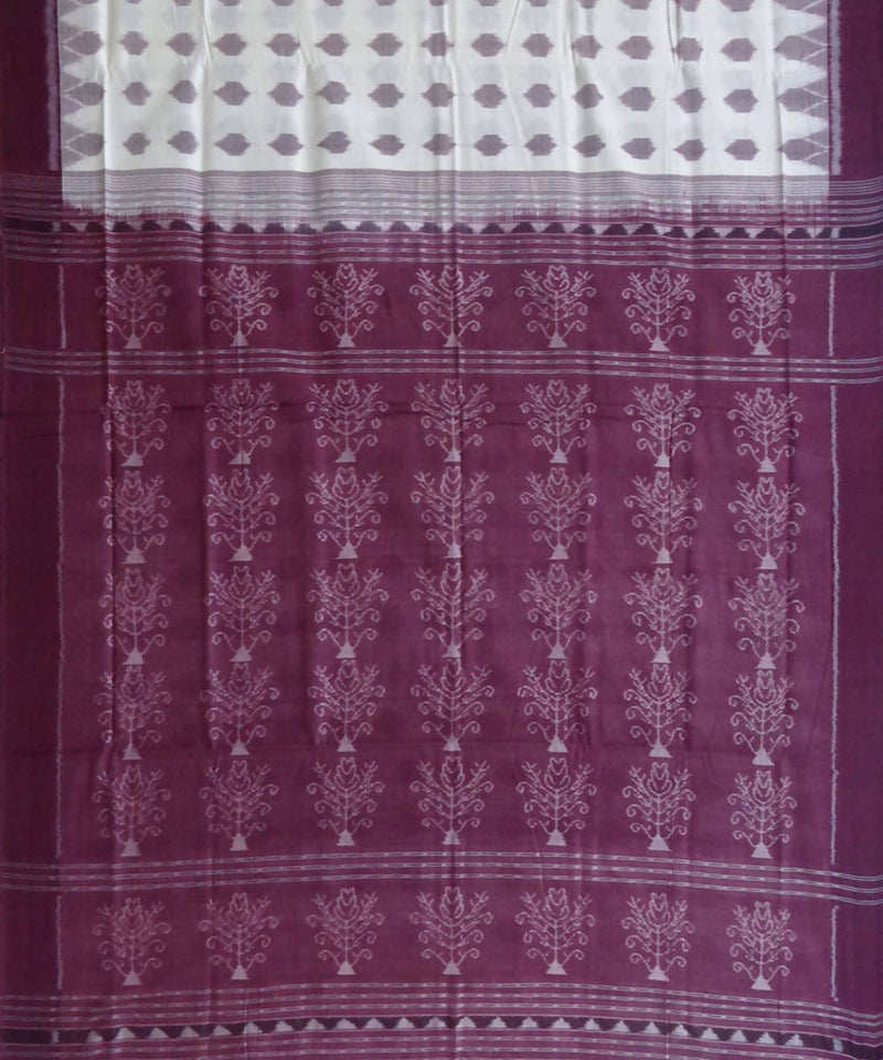 White Handwoven Sambalpuri cotton Saree