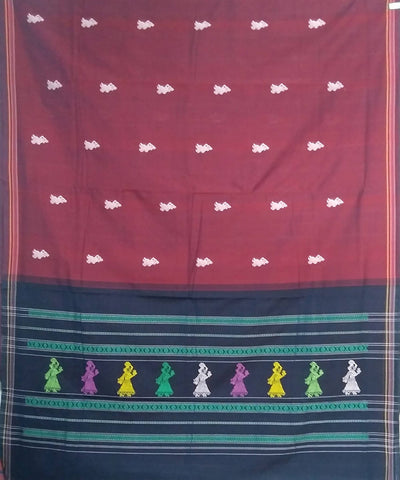 Maroon brown handwoven gollabhama Cotton saree
