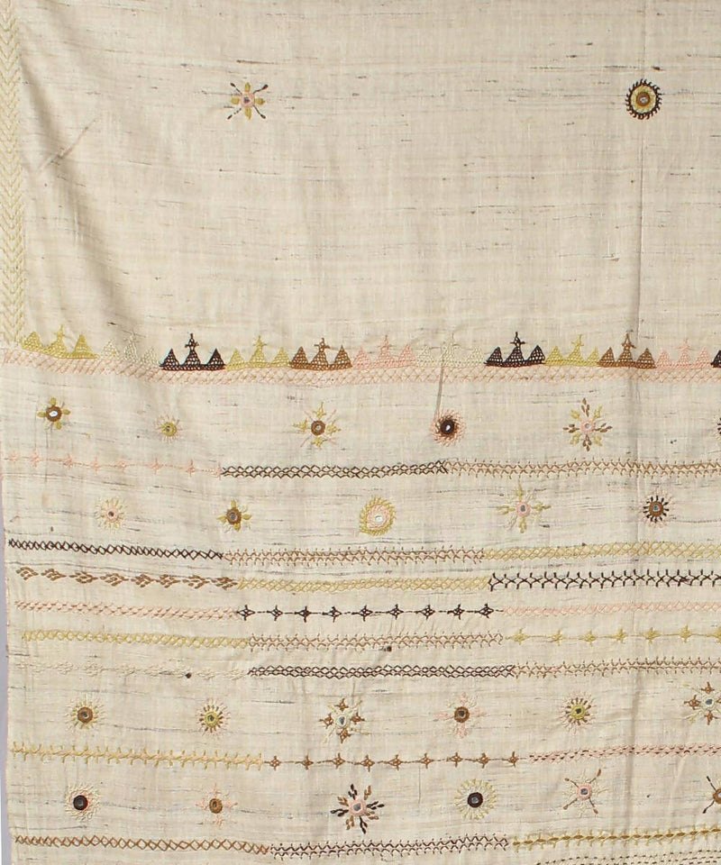 beige hand embroidery silk saree
