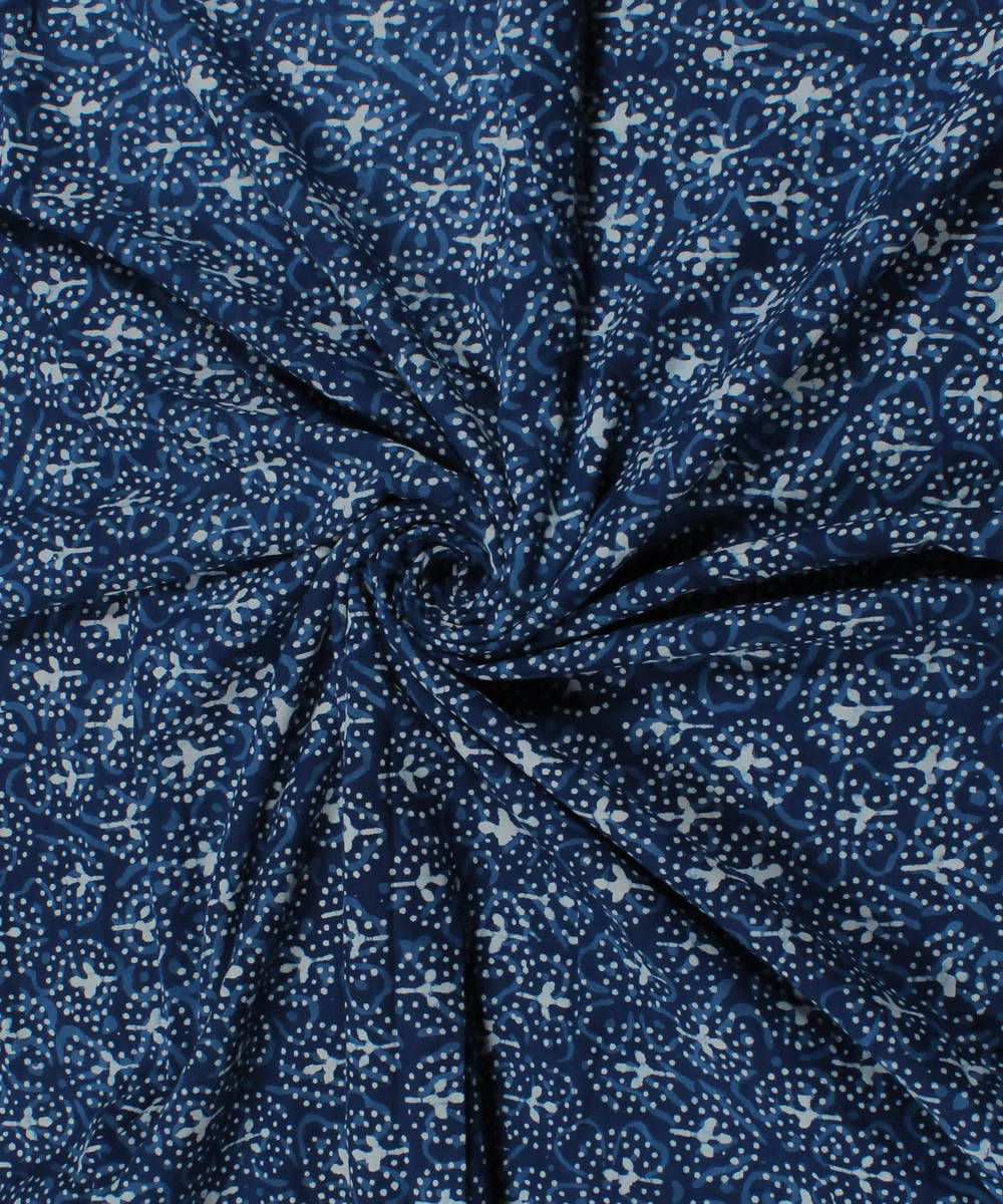 Floral Dabu Print White Indigo Cotton Fabric
