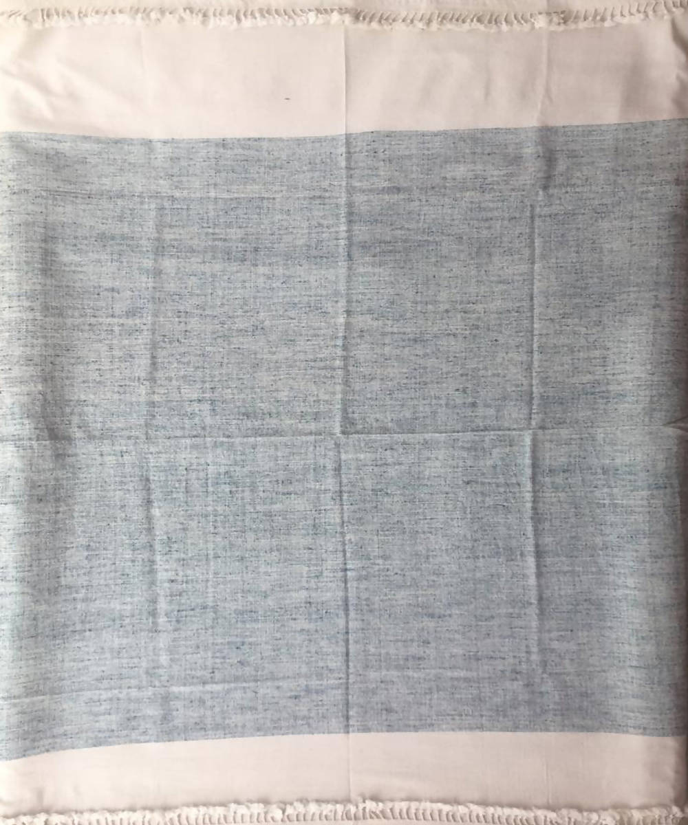 Blue and white handwoven cotton throw