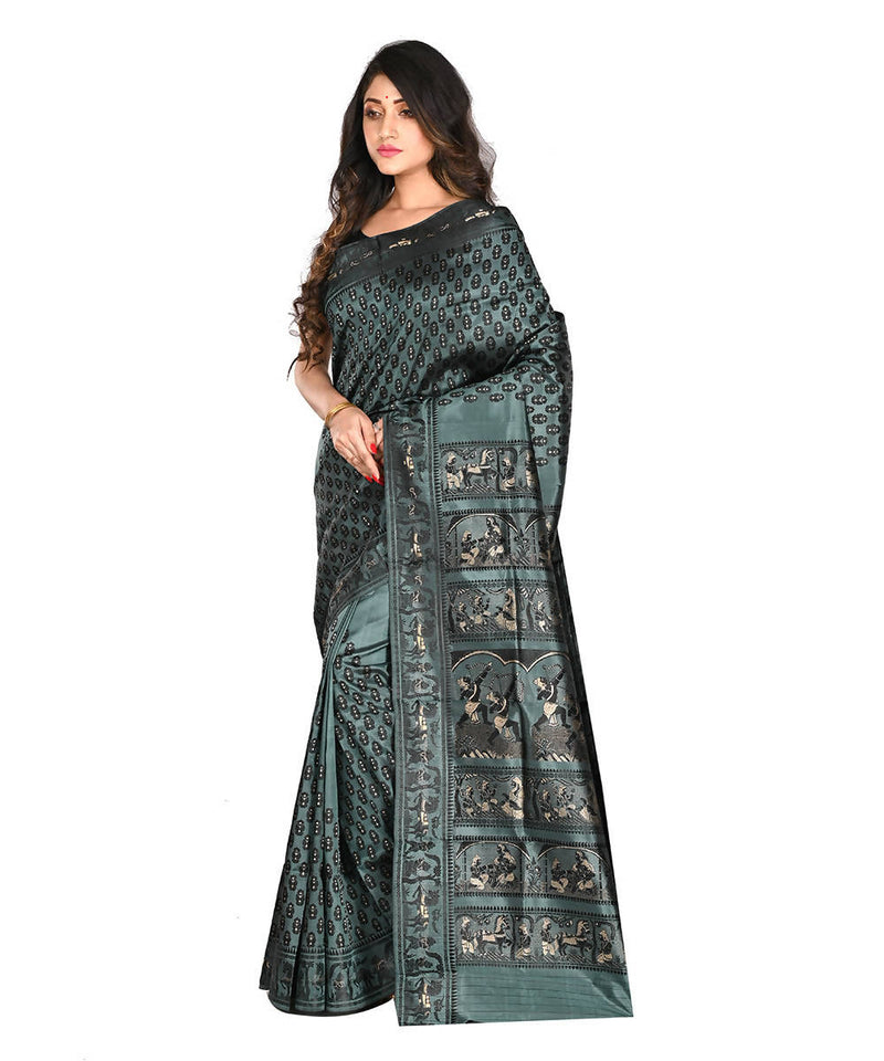 Bengal Handloom Black Green Baluchari Saree