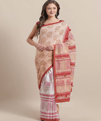 Beige Cotton Hand Block Printed Saree