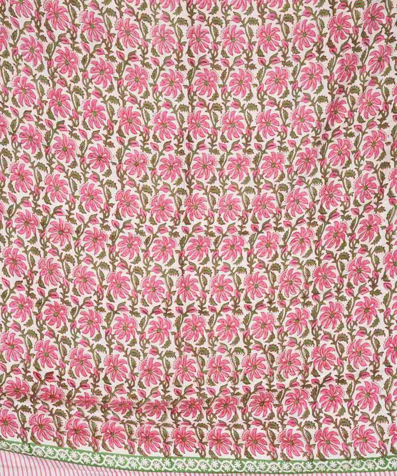 Pink hand block print eri silk kurta material and dupatta set