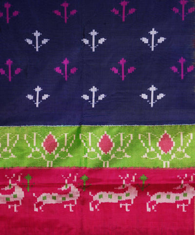 Blue Pink Handloom Pochampally Silk Saree