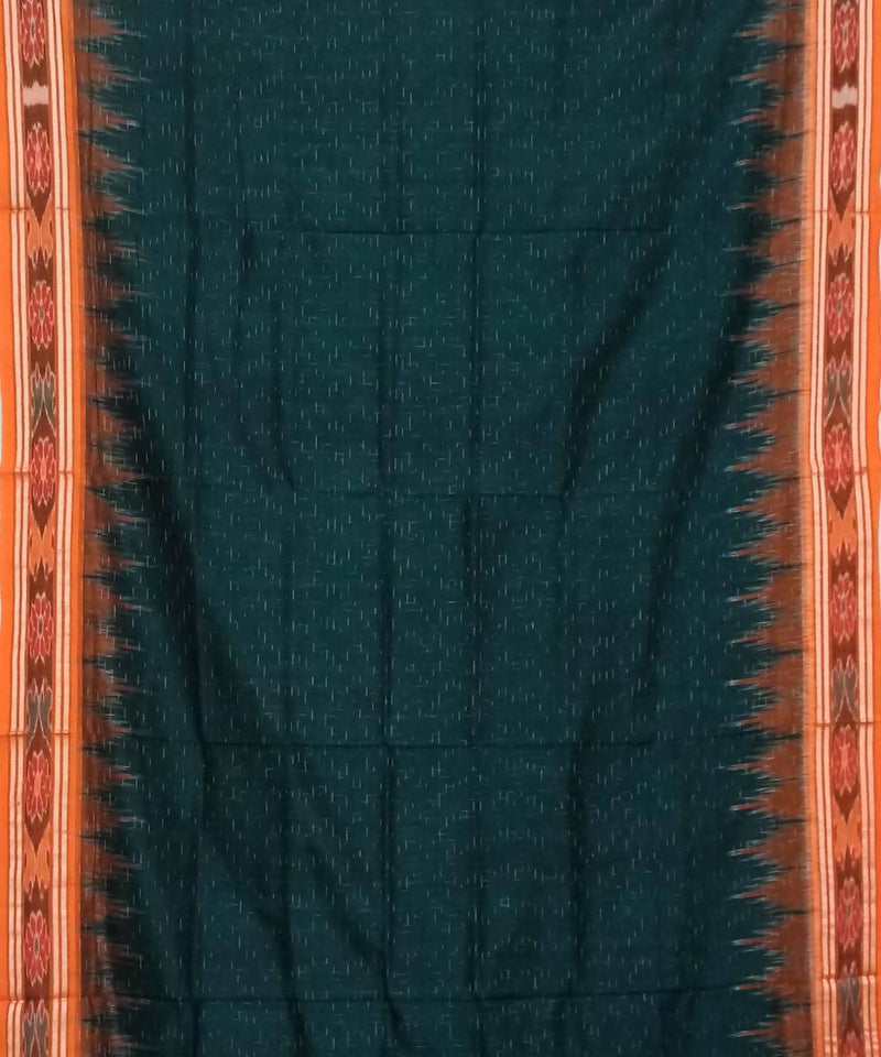 Bottle Green and Brown Nuapatana Handwoven Cotton Saree