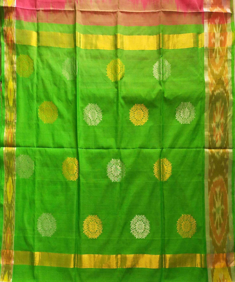Pink and green handwoven venkatagiri cotton saree