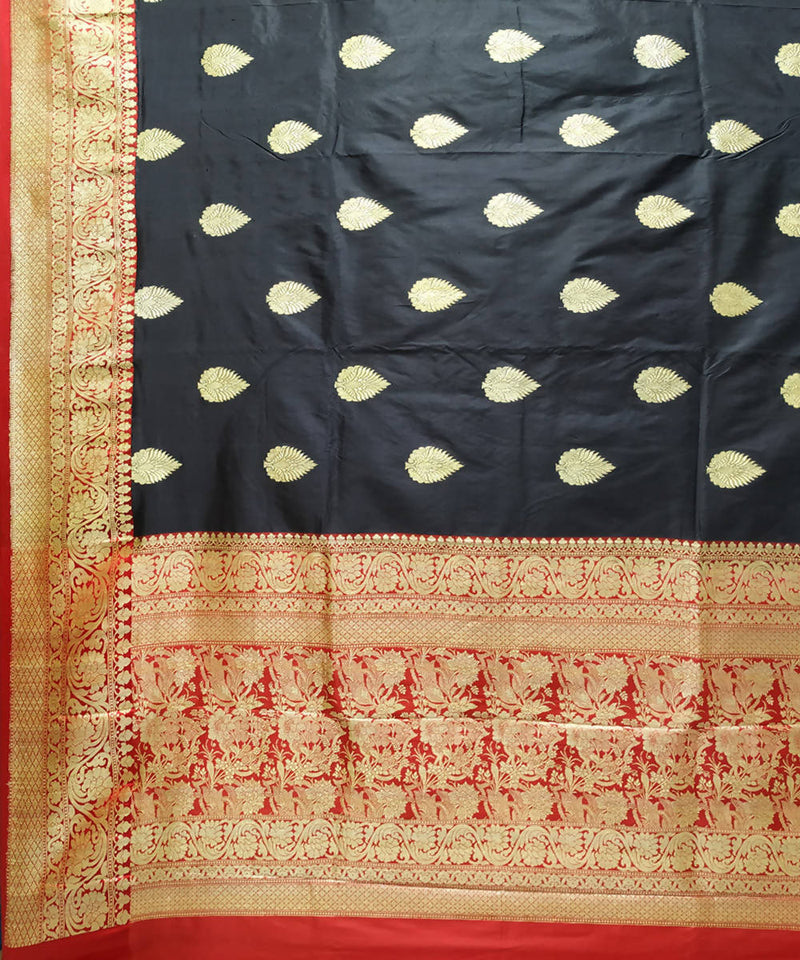 Black handwoven katan silk banarasi saree