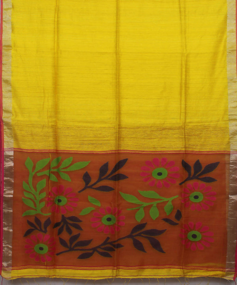 Bengal Handloom Yellow Matka Silk Saree