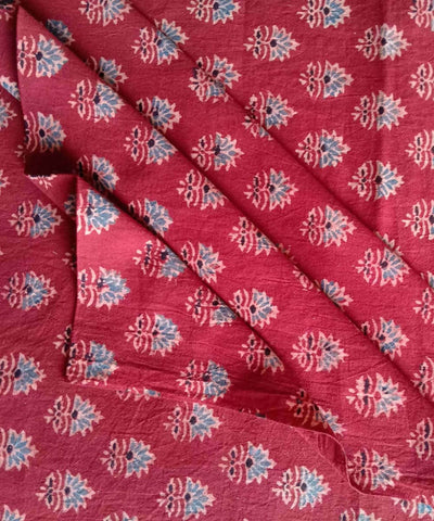ajrakh printed red handspun handwoven cotton kurta fabric