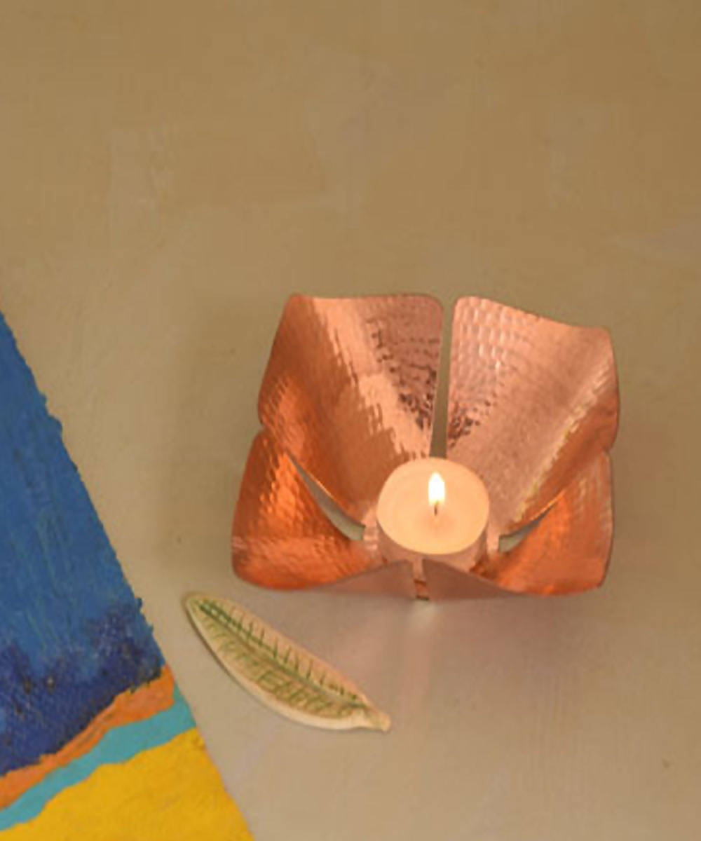 Handmade copper foliole tea light