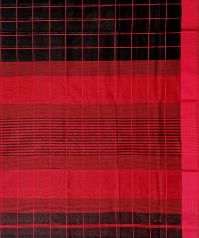 Maheshwari Black Red Checks Handwoven Cotton Silk Saree