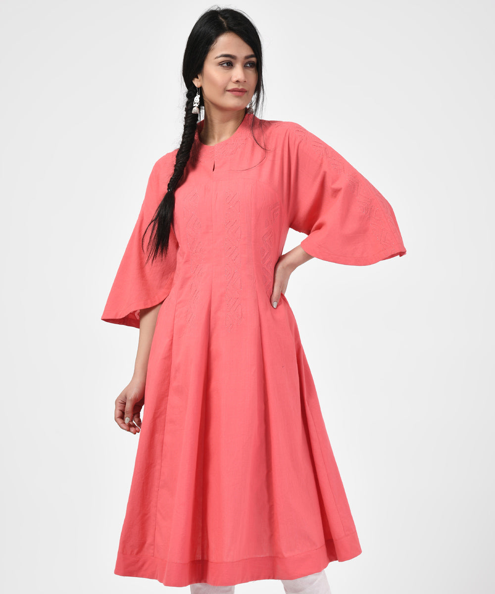 Light Pink Cotton Handwoven Kurta