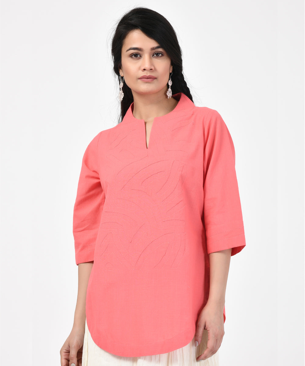 Light Pink Sleeve Cotton Handwoven Top