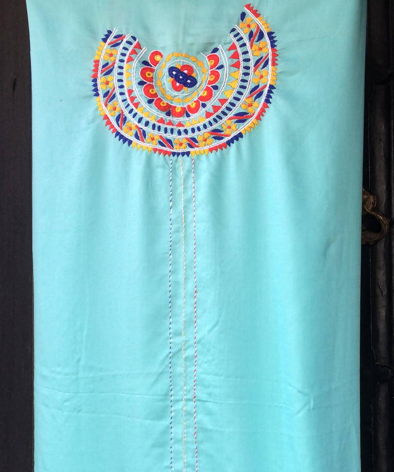 Sea blue modal kurta fabric