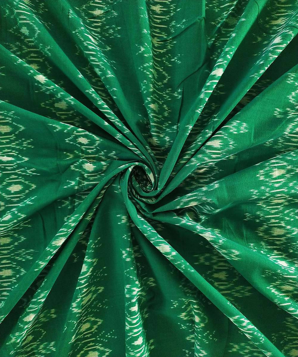 emerald green and white cotton Handwoven Pochampally Ikat Fabric