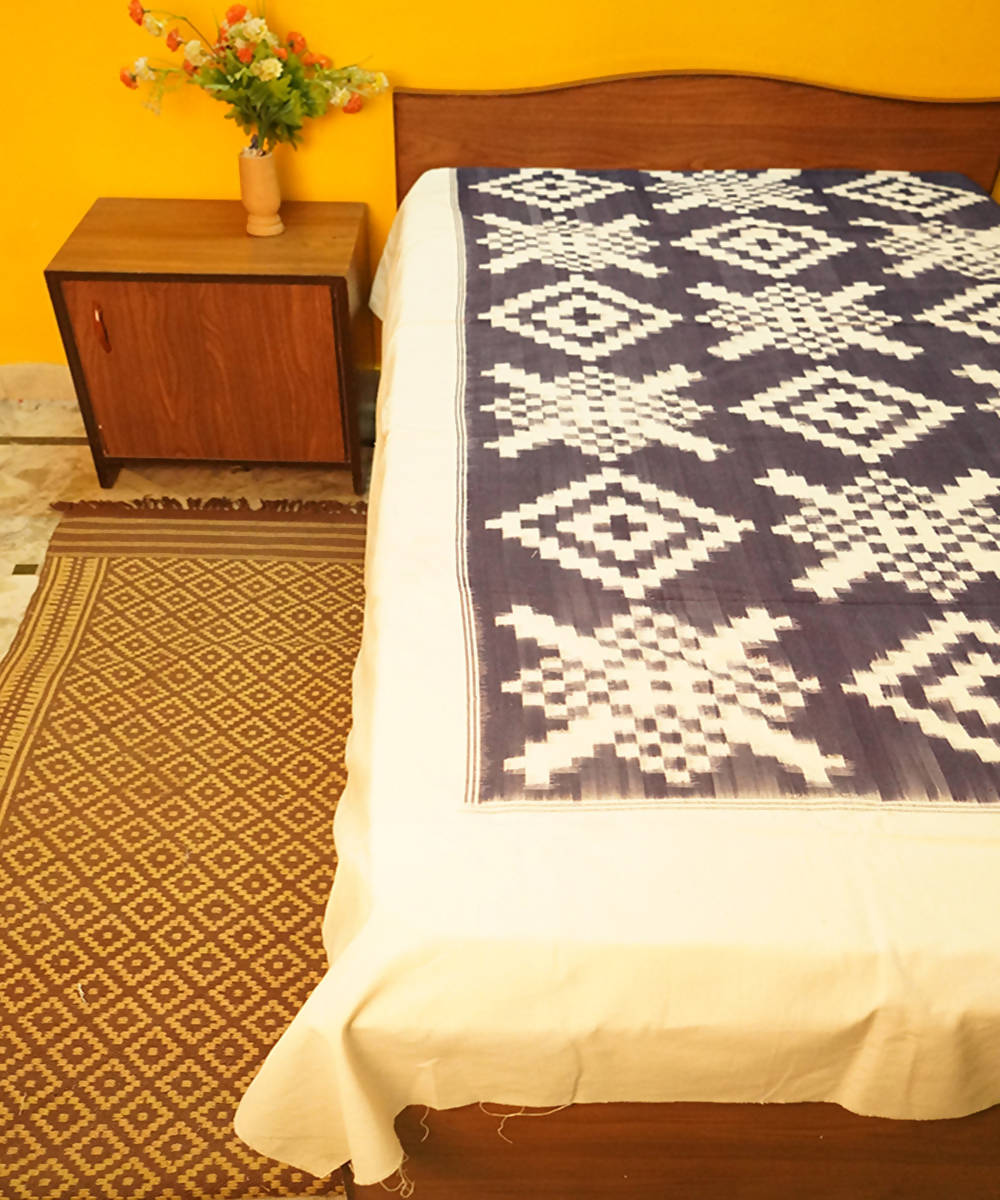Black and White Handloom Double Ikat Bedsheet