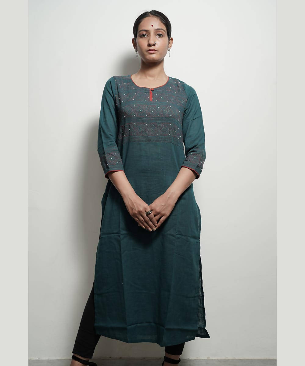 Green tanka work long cotton kurta