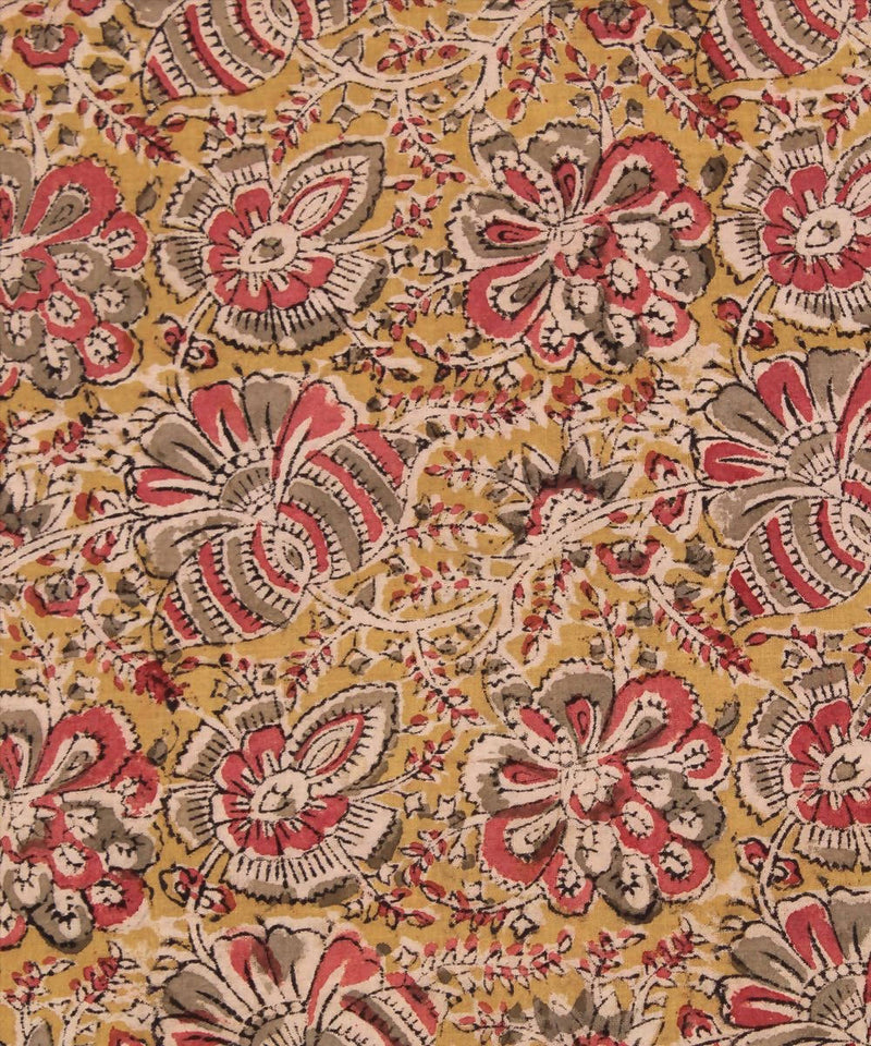 green yellow Handblock kalamkari print fabric